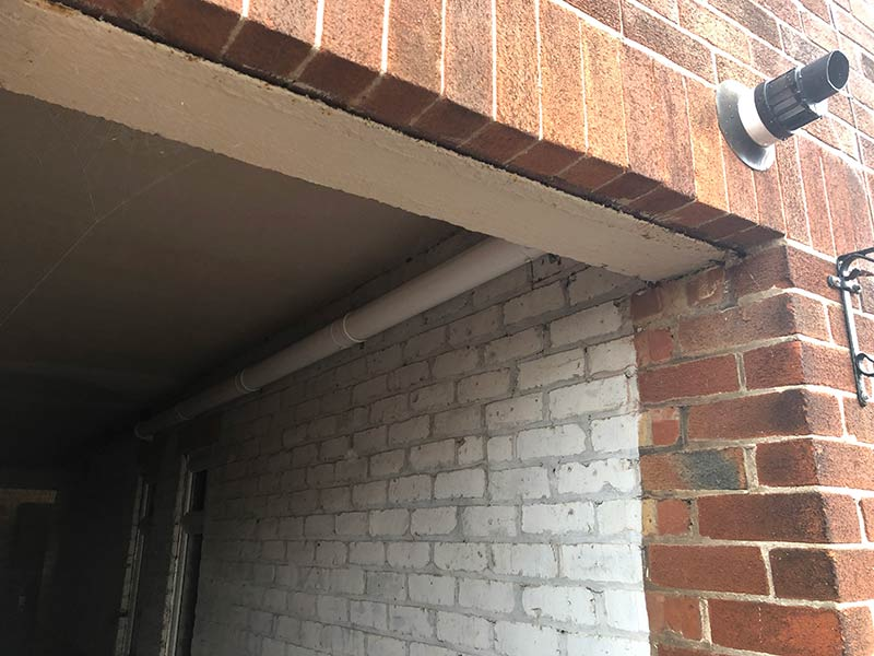 pipe work and flue fitted